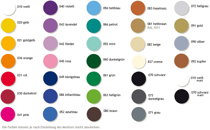 Farbpalette Autoaufkleber